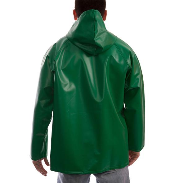 Tingley ASTM D6413 SafetyFlex Green Chem Splash Jacket with Hood J41108 Back