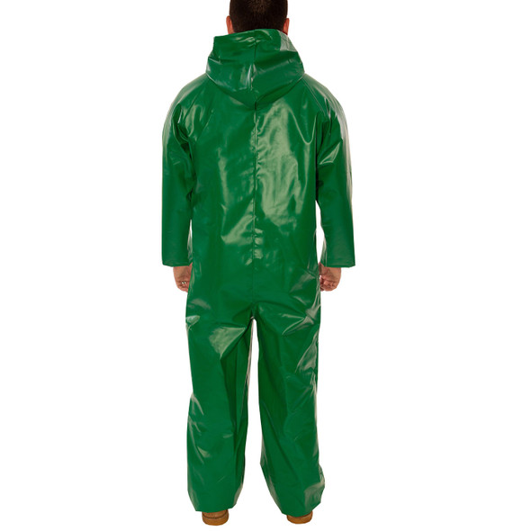 Tingley ASTM D6413 SafetyFlex Green Chem Splash Coveralls V41108 Back