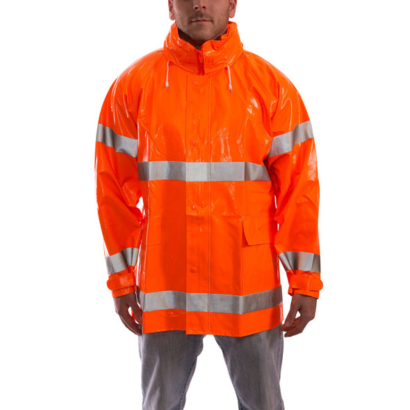 Tingley Class 3 Hi Vis Orange Comfort-Brite Rain Jacket J53129 Front