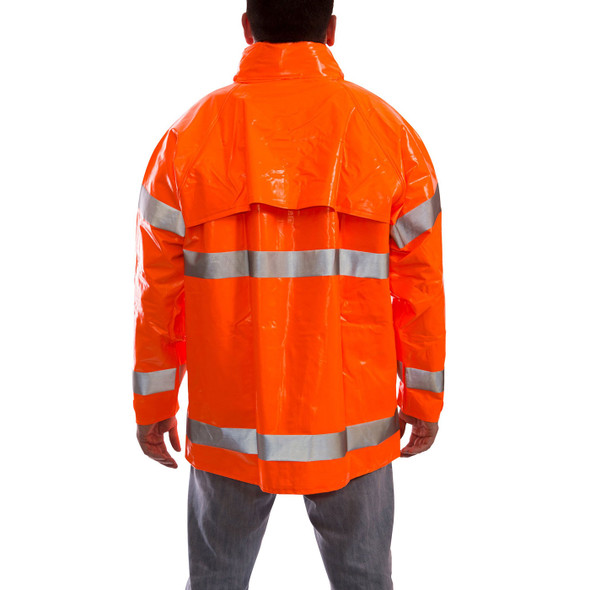 Tingley Class 3 Hi Vis Orange Comfort-Brite Rain Jacket J53129 Back