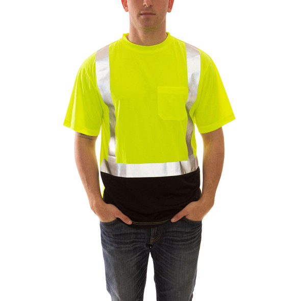 Tingley Class 2 Hi Vis Yellow Black Bottom Moisture Wicking Job Sight T-Shirt S75122 Front