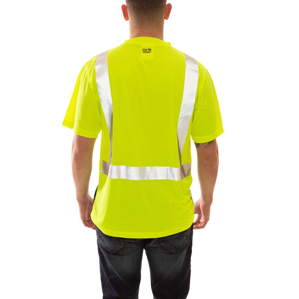 Tingley Class 2 Hi Vis Yellow Black Bottom Moisture Wicking Job Sight T-Shirt S75122 Back