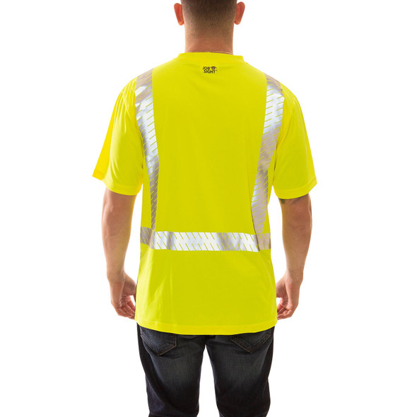 Tingley Class 2 Hi Vis Yellow Black Bottom Job Sight T-Shirt with Segmented Tape S74122 Back