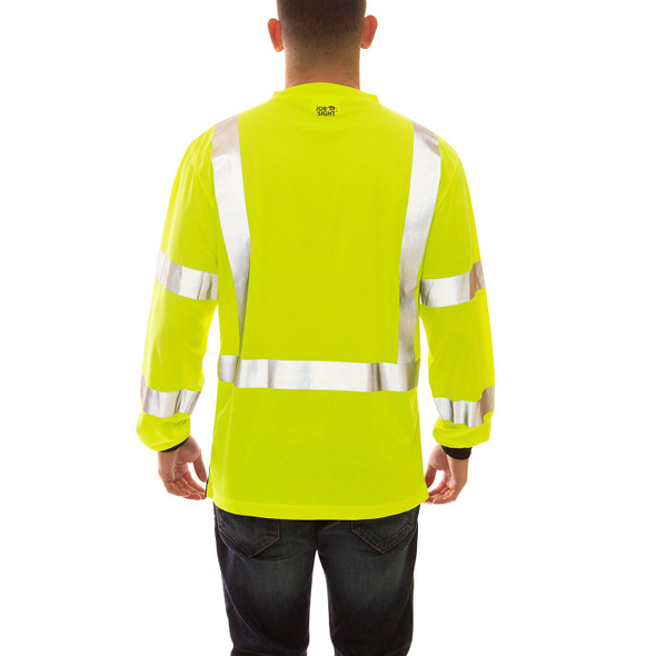 Tingley Class 3 Hi Vis Yellow Black Bottom Moisture Wicking Job Sight Long Sleeve T-Shirt S75622 Back