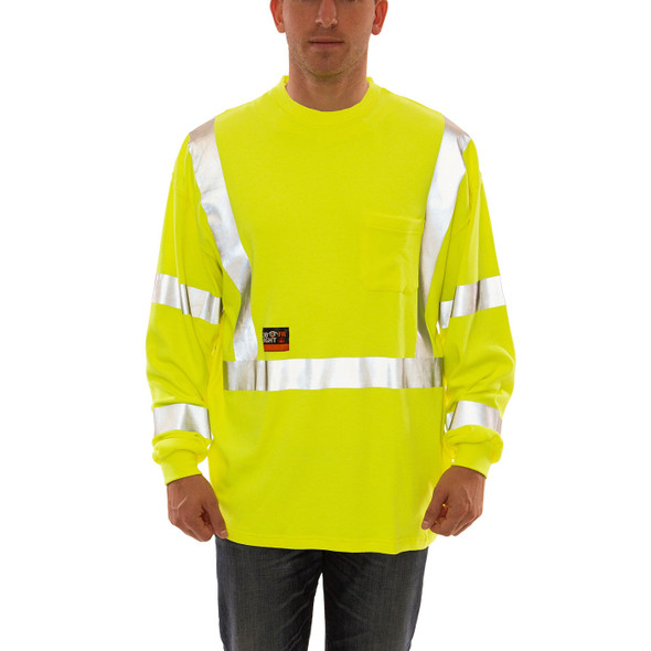 Tingley FR Class 3 Hi Vis Yellow Job Sight Long Sleeve T-Shirt S85522 Front