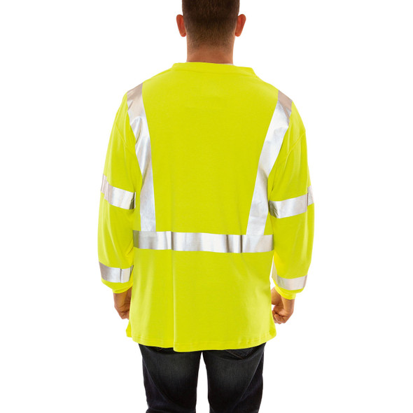 Tingley FR Class 3 Hi Vis Yellow Job Sight Long Sleeve T-Shirt S85522 Back