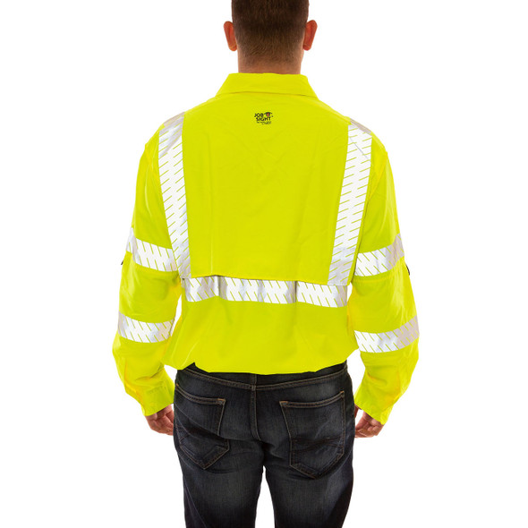 Tingley Class 3 Hi Vis Yellow Button Up Longsleeve Sportsman Job Sight Shirt with Segmented Tape S76522 Back