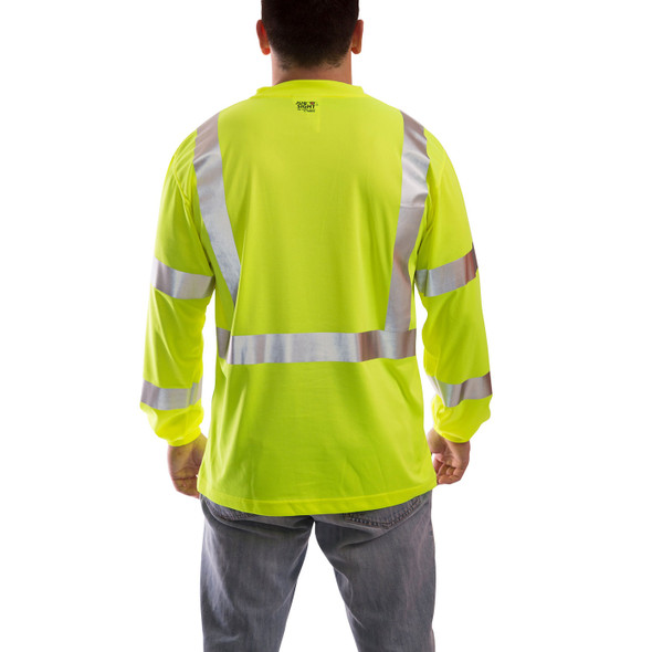 Tingley Class 3 Hi Vis Yellow Moisture Wicking Job Sight Long Sleeve T-Shirt S75522 Back