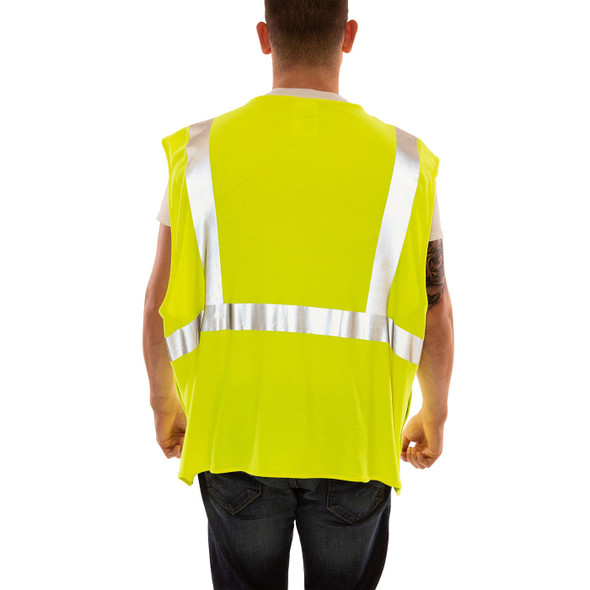 Tingley FR Class 2 Hi Vis Yellow Job Sight Breakaway Safety Vest V81522 Back