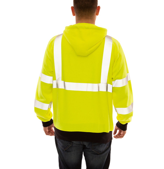Tingley FR Class 3 Hi Vis Yellow Zip-Up Black Bottom Job Sight Hooded Sweatshirt S88122 Back