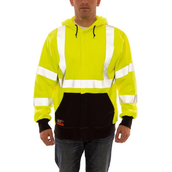 Tingley FR Class 3 Hi Vis Yellow Zip-Up Black Bottom Job Sight Hooded Sweatshirt S88122 Front