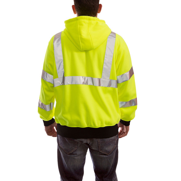 Tingley Class 3 Hi Vis Yellow Black Bottom Job Sight Zip-Up Hoodie S78122 Back