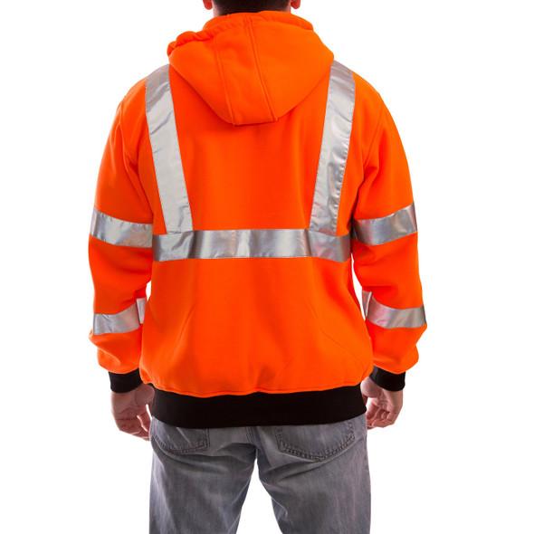 Tingley Class 3 Hi Vis Orange Black Bottom Job Sight Zip-Up Hoodie S78129 Back