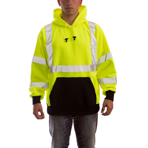 Tingley Class 3 Hi Vis Yellow Black Bottom Job Sight Pullover Hoodie S78322 Front