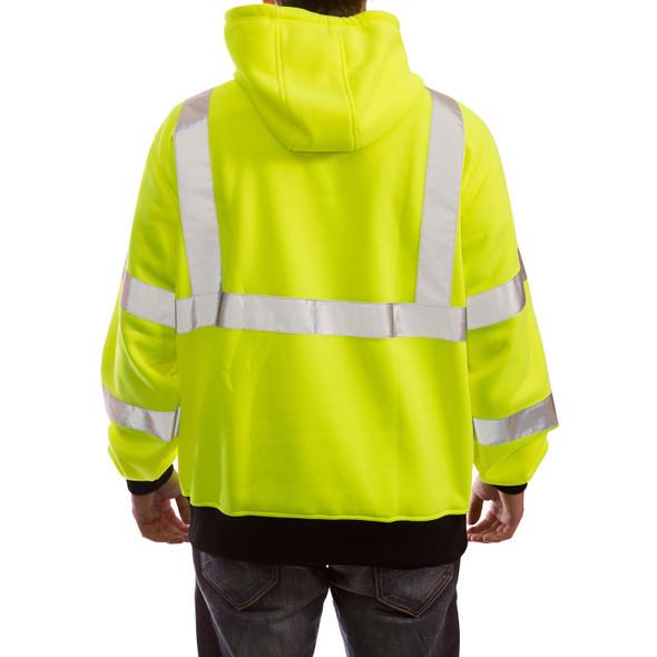 Tingley Class 3 Hi Vis Yellow Black Bottom Job Sight Pullover Hoodie S78322 Back