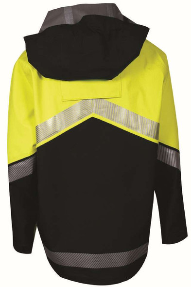 NSA FR Class 3 Hi Vis Yellow Hydrolite Storm Made in USA Jacket with Segmented Tape HYDRO2JACK-YB Back