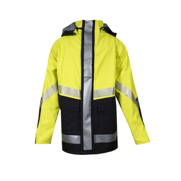 NSA FR Class 3 Hi Vis Yellow Hydrolite Storm Made in USA Jacket with Segmented Tape HYDROJACK-YB Front