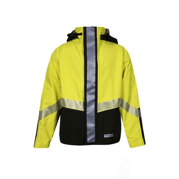 NSA FR Class 3 Hi Vis Yellow Hydrolite Made in USA Bomber Jacket with Segmented Tape HYDROBOM-YB Front