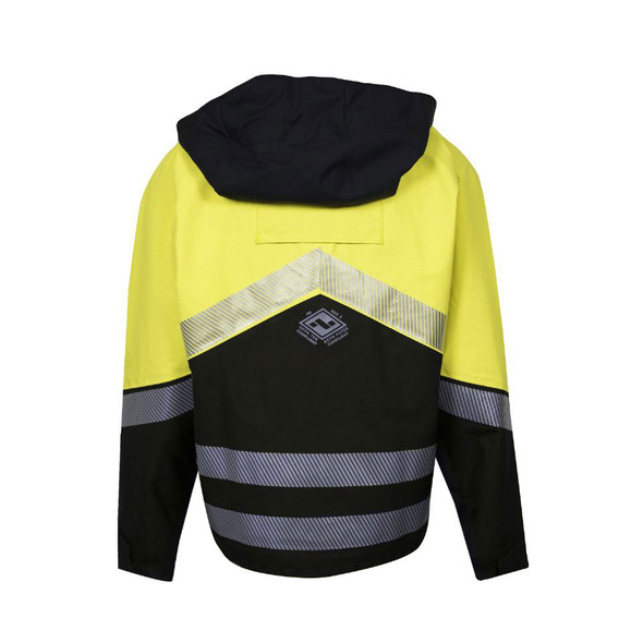 NSA FR Class 3 Hi Vis Yellow Hydrolite Made in USA Bomber Jacket with Segmented Tape HYDROBOM-YB Back