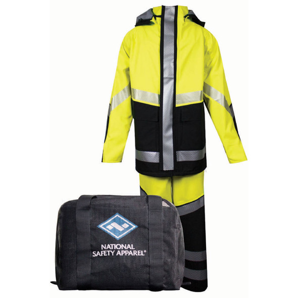 NSA FR Hi Vis Class 3 Yellow Made in USA Hyrdolite Kit with Segmented Tape KITHYDRO2-YB Rain Suit with Bag