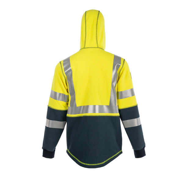 DragonWear FR Class 3 Hi Vis Yellow Navy Bottom Elements Nova Jacket DFMN13 Back Hood Up