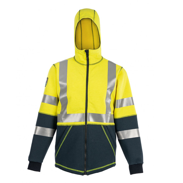 DragonWear FR Class 3 Hi Vis Yellow Navy Bottom Elements Nova Jacket DFMN13 Front Hood Up