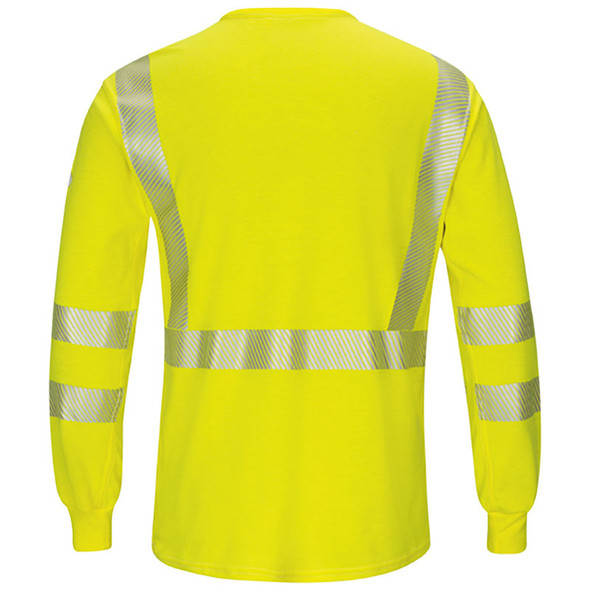 Bulwark FR Class 3 Hi Vis Yellow Long Sleeve T-Shirt with Segmented Tape SMK8HV Back