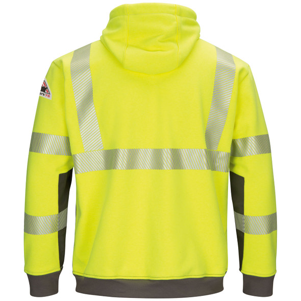 Bulwark FR Class 3 Hi Vis Yellow Gray Bottom Pullover Hooded Sweatshirt SMB4HG Back