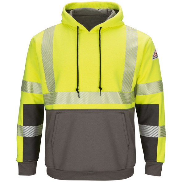 Bulwark FR Class 3 Hi Vis Yellow Gray Bottom Pullover Hooded Sweatshirt SMB4HG Front