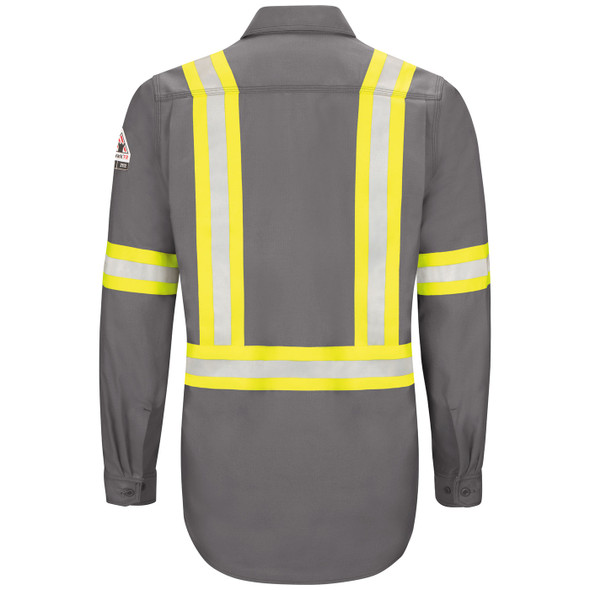 Bulwark FR iQ Endurance Enhanced Visibility Gray Work Shirt QS40GE Back
