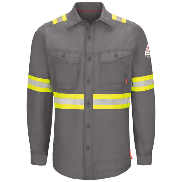Bulwark FR iQ Endurance Enhanced Visibility Gray Work Shirt QS40GE Front