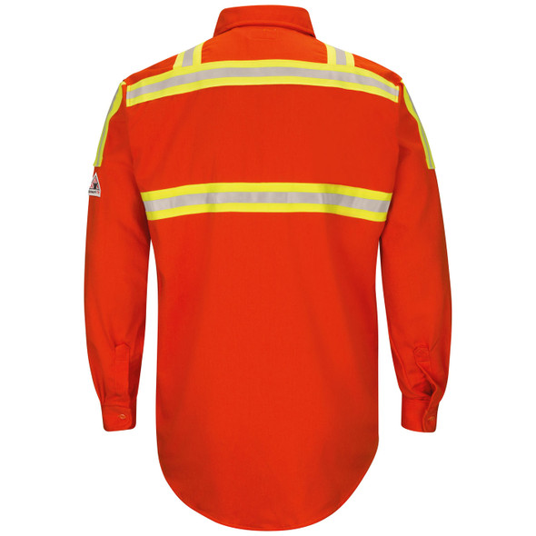 Bulwark FR Enhanced Visibility Two-Tone Orange Long Sleeve Uniform Shirt SLATOR Back