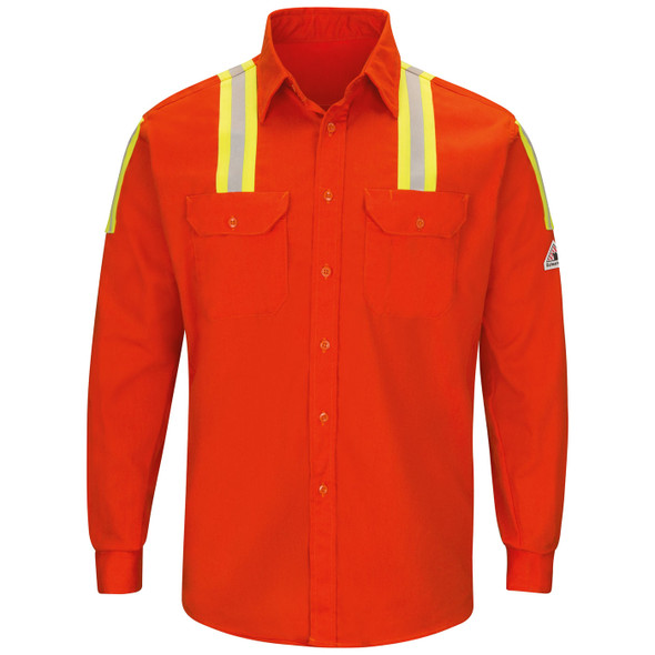 Bulwark FR Enhanced Visibility Two-Tone Orange Long Sleeve Uniform Shirt SLATOR Front