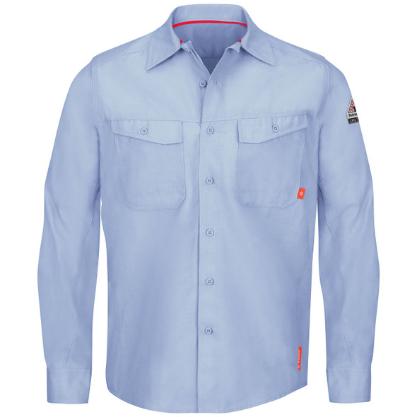 Bulwark FR iQ Endurance Work Shirt QS40 Light Blue Front