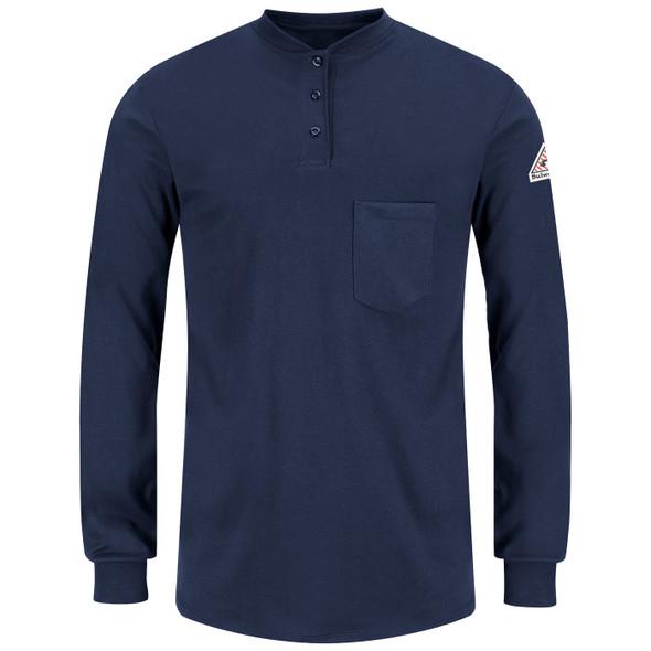 Bulwark Womens FR Excel Long Sleeve Henley Shirt SEL3NV Front