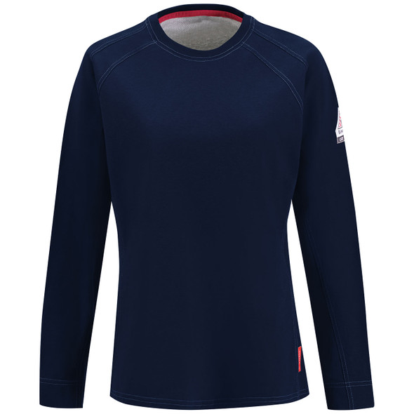 Bulwark Womens FR iQ Comfort Knit Moisture Wicking Long Sleeve T-Shirt QT31 Dark Blue Front