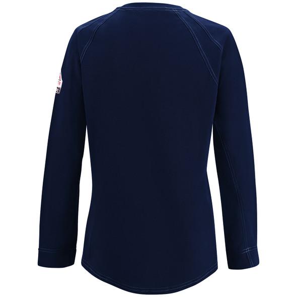 Bulwark Womens FR iQ Comfort Knit Moisture Wicking Long Sleeve T-Shirt QT31 Dark Blue Back