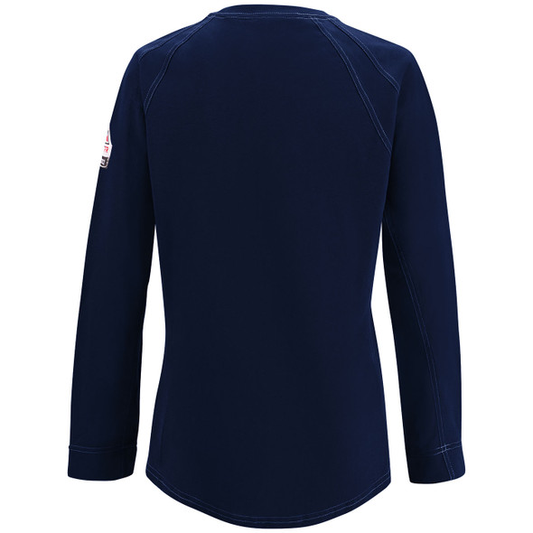 Bulwark Womens FR iQ Comfort Knit Moisture Wicking Long Sleeve T-Shirt QT31 Dark Blue Back