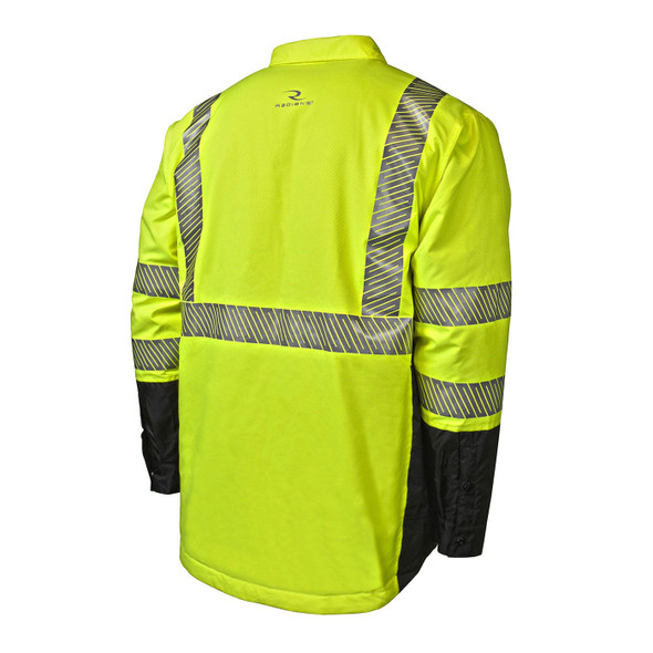 Radians Class 3 Hi Vis Green Black Bottom Rip-Stop Quilted Wind Shirt SJ03-3SGR Back