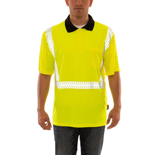 Tingley Class 2 Hi Vis Yellow Job Sight Polo Shirt with Segmented Tape S74022 Front