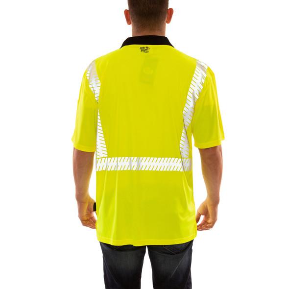 Tingley Class 2 Hi Vis Yellow Job Sight Polo Shirt with Segmented Tape S74022 Back