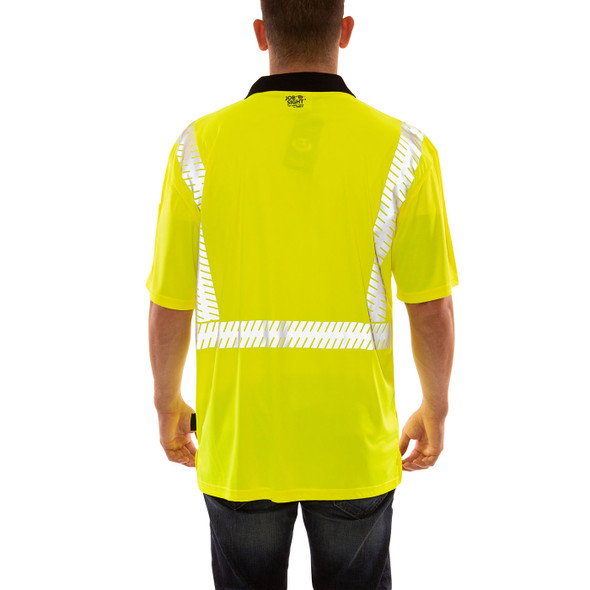 Tingley Class 2 Hi Vis Yellow Job Sight Polo Shirt with Segmented Tape S74022 Back
