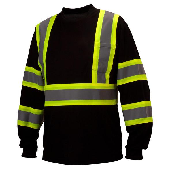 Pyramex Class 1 X-Back Black Long Sleeve Moisture Wicking T-Shirt RCLTS3111 Front
