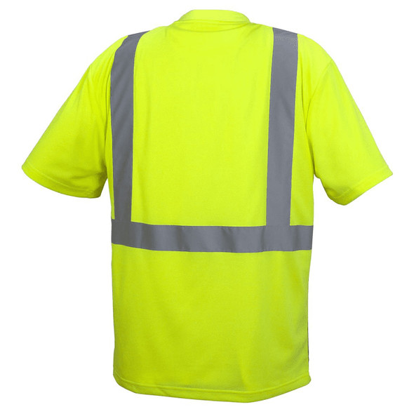 Pyramex Class 2 Hi Vis Lime Black Bottom Moisture Wicking T-Shirt RTS2110B Back