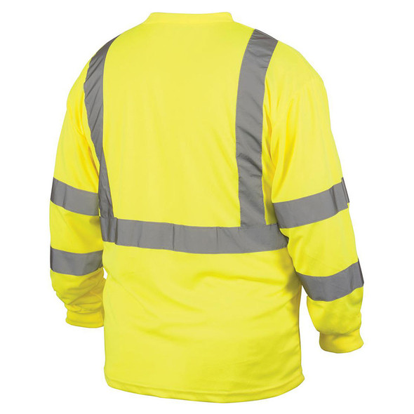 Pyramex Class 3 Hi Vis Lime Black Bottom Moisture Wicking Long Sleeve T-Shirt RLTS3110B Back