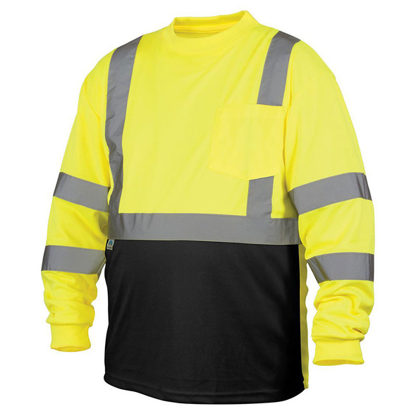 Pyramex Class 3 Hi Vis Lime Black Bottom Moisture Wicking Long Sleeve T-Shirt RLTS3110B Front