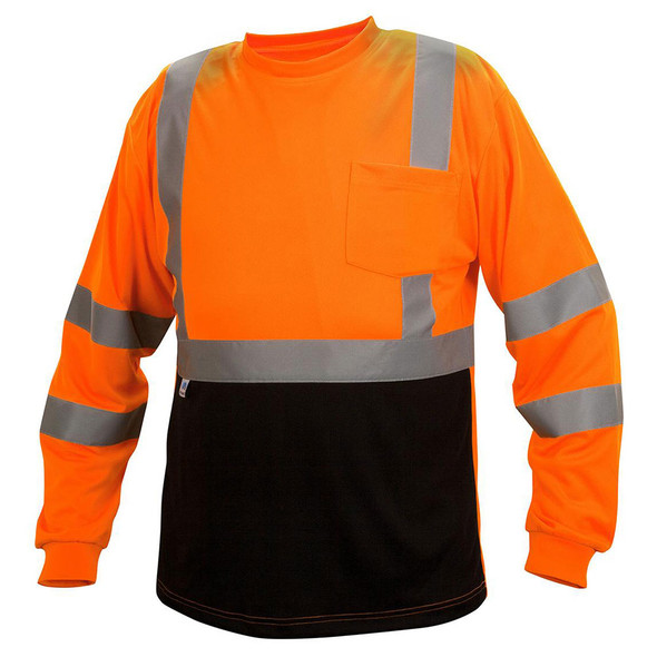 Pyramex Class 3 Hi Vis Orange Black Bottom Moisture Wicking T-Shirt RLTS3120B Front