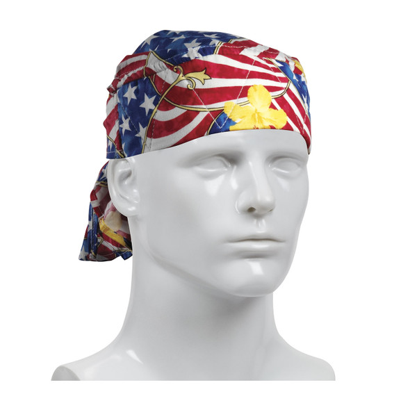 PIP Bag of 10 EZ-Cool Patriotic Flag Evaporative Cooling Tie Hats 396-300-PAT-BAG