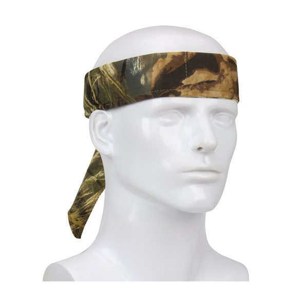 PIP Evaporative Mesh Realtree Max5 Camo Cooling Bandana 393-EZ201-RTC Tied Around the Head