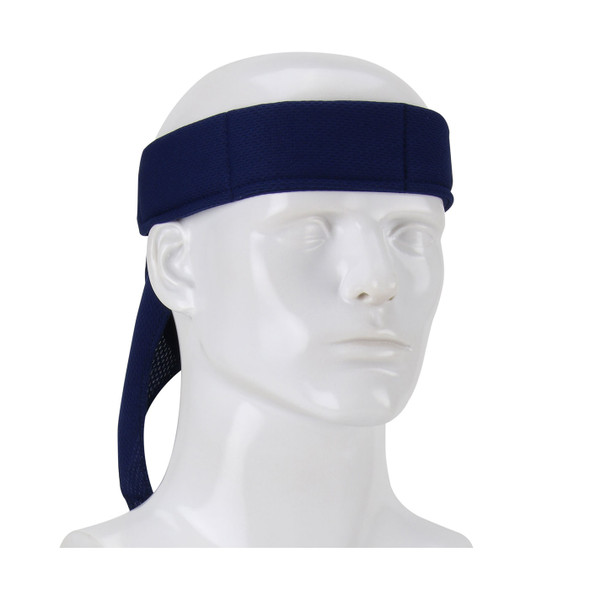 PIP Box of 12 Evaporative Mesh Navy Cooling Bandanas 393-EZ201-NVY-DZN Tied Around the Head